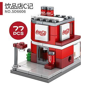 Juomakauppa C Sd6606 Mini City Shops Street View Blocks Market Retail Store -ravintolamalli asettaa rakennus leluyhteensopivan luoja-arkkitehtuurin