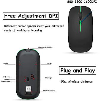 Wireless Mouse Led Ricaricabile Silenzioso Per Pc Macbook, laptop, tablet