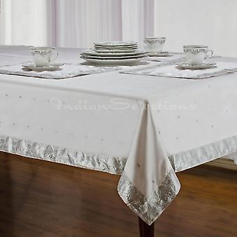 White Silver - Handmade Sari Tablecloth (India)