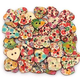 Heart Shaped Painted 2 Hole Wooden Buttons 20mm x 22mm (Pack Of 25pcs)