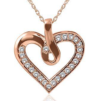14K Rose Gold 1 / 4ct timantti sydän riipus kaulakoru uusi