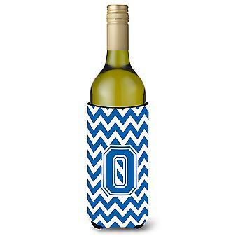 Lettera O Chevron blu e bianco bottiglia di vino bevanda isolante Hugger