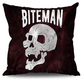 Vampire Skeleton Skull Linen Cushion 30cm x 30cm | Wellcoda