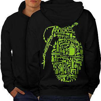 Gun Grenade War Gangster Men BlackHoodie Back | Wellcoda
