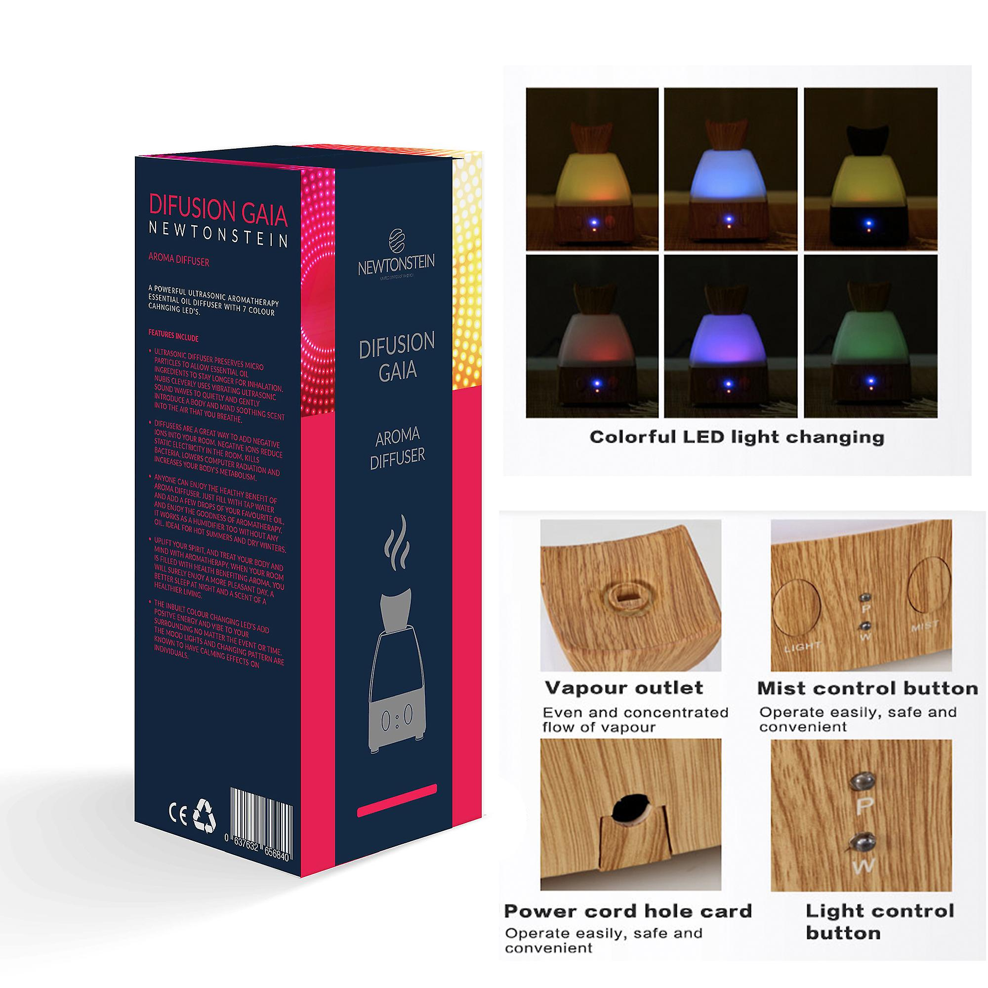 Difusian GAIA - A Powerful Ultrasonic Aroma Therapy Essential Oil Diffuser with Color Changing LEDs Auto Timer + 4 FREE 10ml Essential Oil Bottles Included (Tea Trea Peppermint Lavender and Eucalyptus) - for Home Yoga Office Spa Bedroom Baby Room Etc.