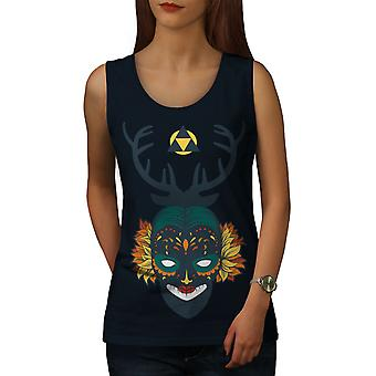 Face Mystic Mask Women NavyTank Top | Wellcoda