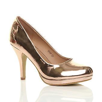 Ajvani womens mid high heel platform party work evening party prom wedding bridal court shoes pumps