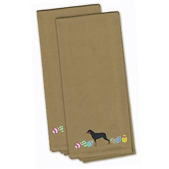 Rottweiler Easter Tan Embroidered Kitchen Towel Set of 2