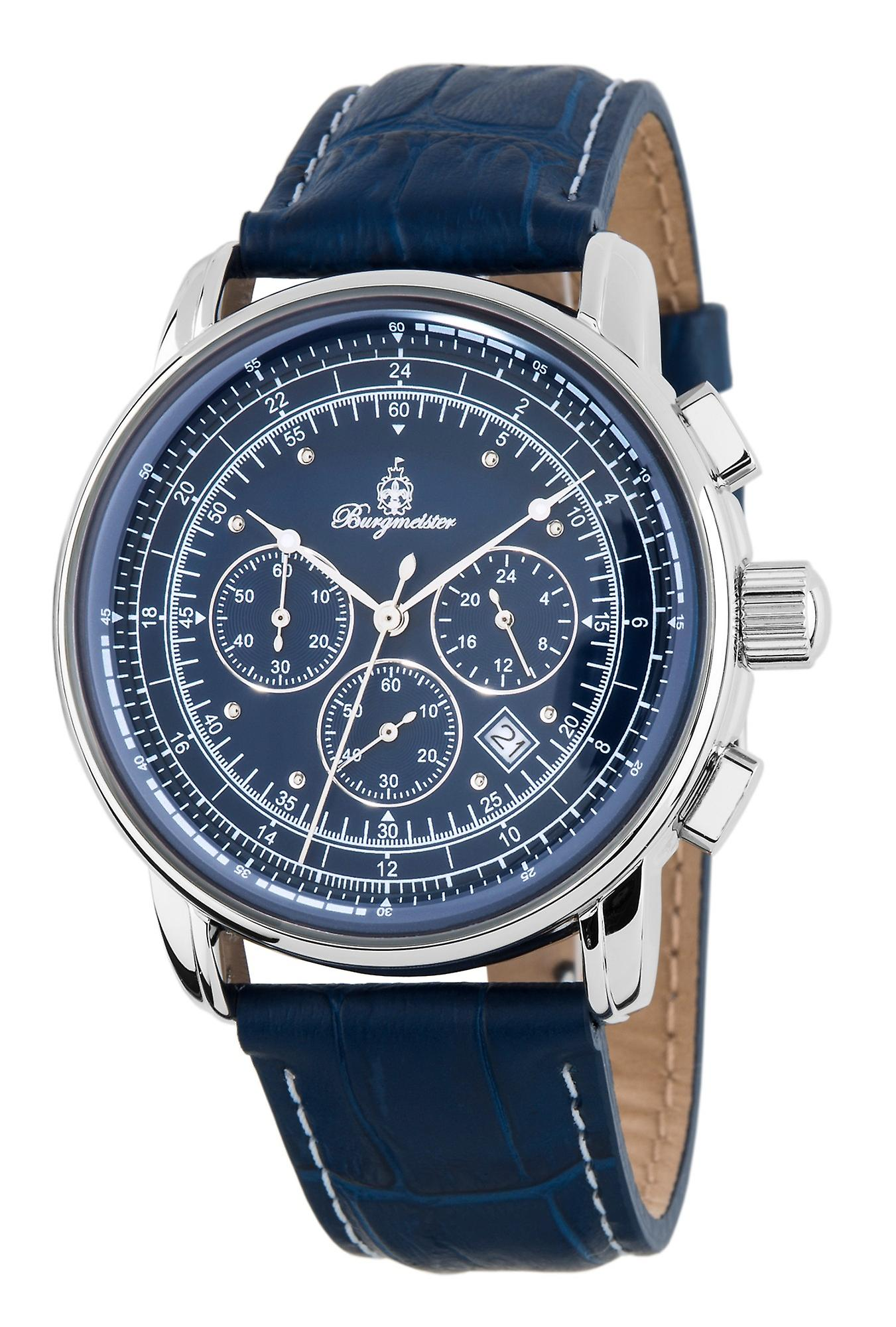 Burgmeister BM332-133 Tessin, Gents watch, Analogue display, Chronograph with Citizen Movement - Water resistant, Stylish leather strap, Classic men's watch