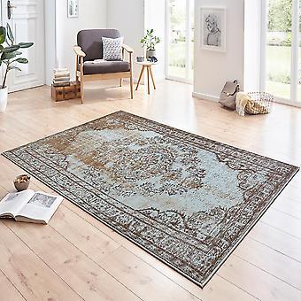 Designer velour carpet Cordelia Blau