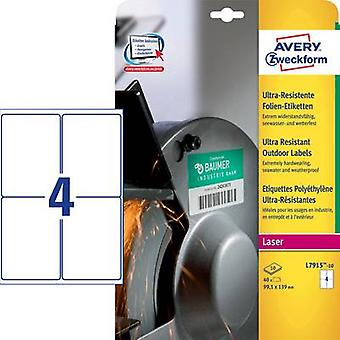 Avery-Zweckform L7915-10 Labels 99.1 x 139 mm PE film White 40 pc(s) Permanent All-purpose labels