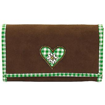Brown costume purse velour women's rollover stock with checkered cotton