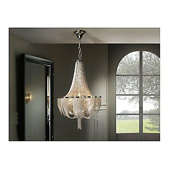 Schuller Minerva Contemporary 10 Light Chandelier Draped With Nickel Chains