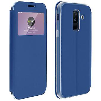 Vindu vende tilfelle, flip lommebok tilfelle med stativ for Samsung Galaxy A6 pluss - blå