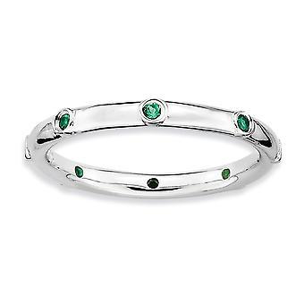 925 sterling sølv bezel polert rhodium belagt stables uttrykk opprettet emerald ring smykker gaver til kvinner - R
