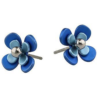 Ti2 Titanium dobbelt fire Petal perle blomst Stud Øreringe - blå