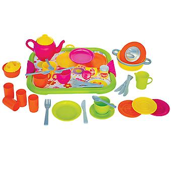 Gowi Toys Dinner Service Set (Pink - 40 Pieces) Pretend Play Set Children Kids