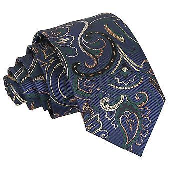 Navy & Green Cypress Paisley Slim Tie