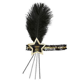 Prosit Neujahr Schwarz-Gold Glitter Sterne Pailletten Stirnband