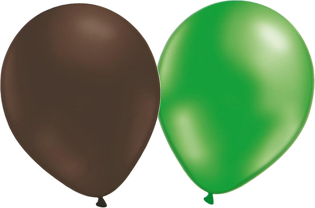 Ballonger mix 24-pack (12 bruna och 12 metallicgröna)