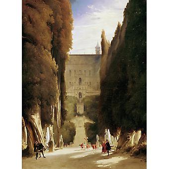 The Gardens of the Villa d ' Este, Karl Blechen, 50x40cm