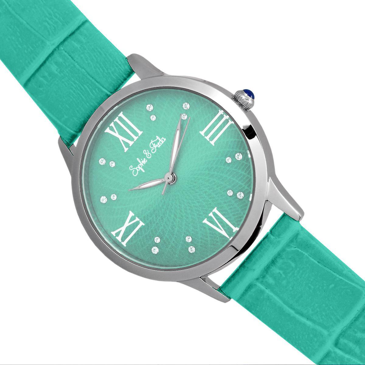 Sophie & Freda Sonoma Leather-Band Watch w/Swarovski Crystals - Silver/Teal