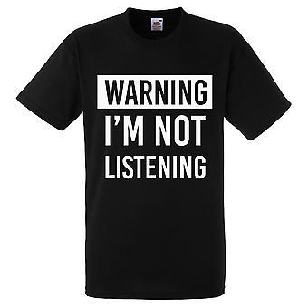تحذير لست الاستماع التي شيرت