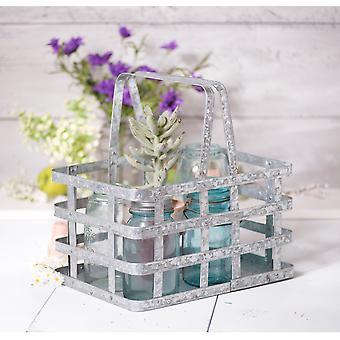 Irvin's Country Tinware Farmhouse Basket in Galvanized Tin