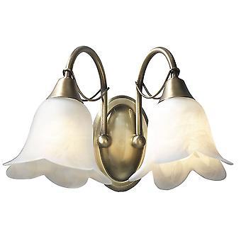 Dar belysning Doublet dobbelt væglampe i antik messing