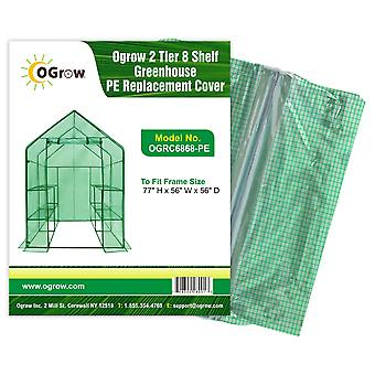 Walk In Greenhouse Replacement PE Plastic Cover for Garden Grow House 8 Shelves
