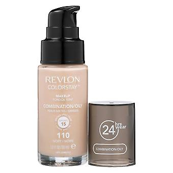 Combinação de maquiagem Colorstay Revlon/Oleosa Pele-110 Marfim 30ml