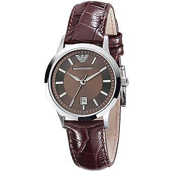 Clássico de Emporio Armani Ar2414 mulheres relógio pulseira de couro marrom