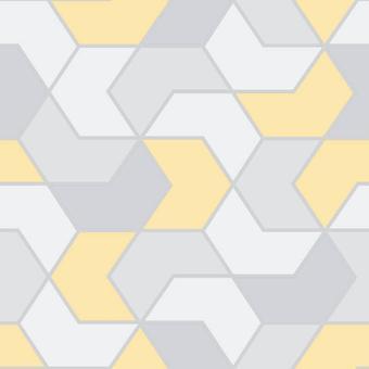 Rasch geometrische hex geel grijs zilver metallic glitter retro behang