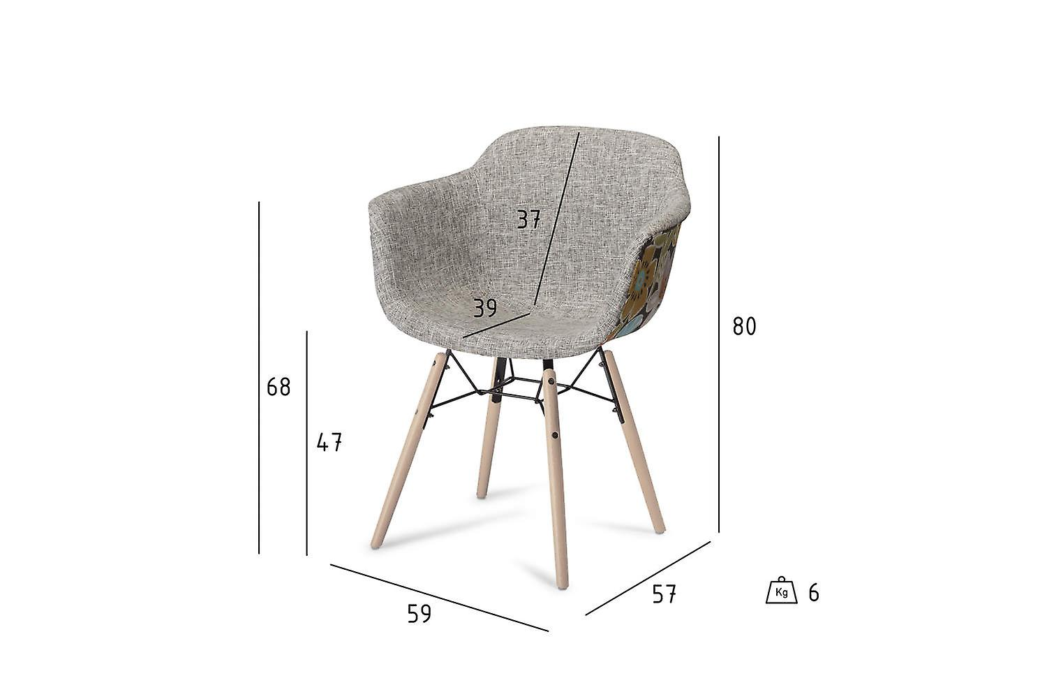 Furnhouse Flame Dining Chair, Red/Grey, Natural Legs, 59x57x80 cm, Set of 2