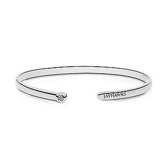 University Of Kansas Engraved Sterling Silver Diamond Cuff Bracelet
