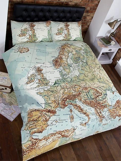 Vintage Europe Map Double Duvet Cover and Pillowcases Set