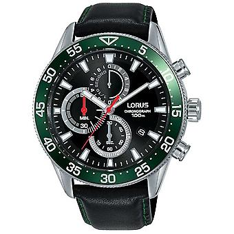 Lorus | Mens Chronograph | Green Bezel | Black Leather Strap | RM347FX9 Watch