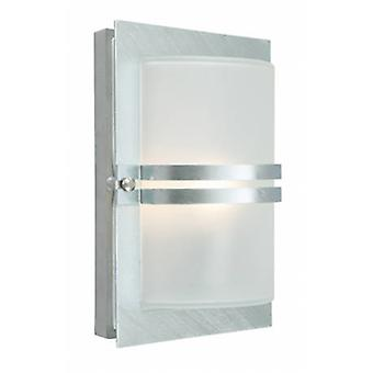 1 Light Outdoor Frosted Flush Wall Light Galvanised Ip54