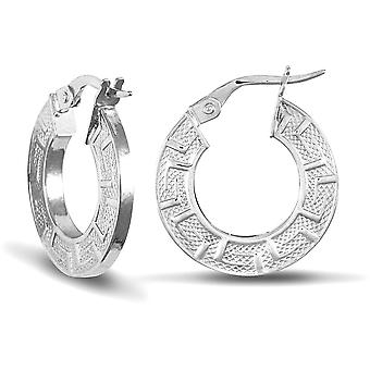 Jewelco London Ladies 9ct White Gold Greek Key Flat 2mm Boucles d'oreilles Cerceau 18mm