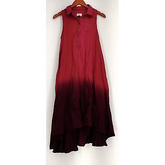 OSO Casuals Dress Hi Lo Woven Dip Dye Shirt Pink Womens A432923
