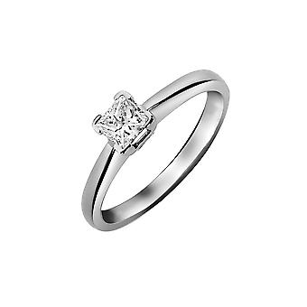 Jewelco London Ladies Solid Platinum L-Shape 4 Claw Set Princess G SI1 1ct Diamond Solitaire Engagement Ring