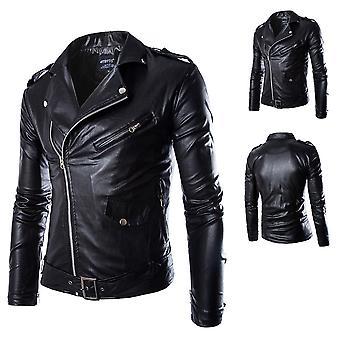 Allthemen menn ' s skinnjakke slim fit jakkeslaget solid glidelås skinn jakke