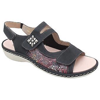 Remonte Multiple Adjustable Strap Slip On Navy Sandal
