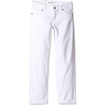 Levi's Ragazze' Big Distressed Boyfriend Fit Jeans, Bianco, Bianco, Taglia 14