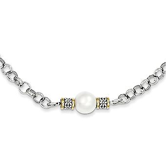 925 Sterling Silver Polished finish Lobster Claw Closure With 14k Freshwater Cultured Pearl Necklace Jewelry Gifts for W