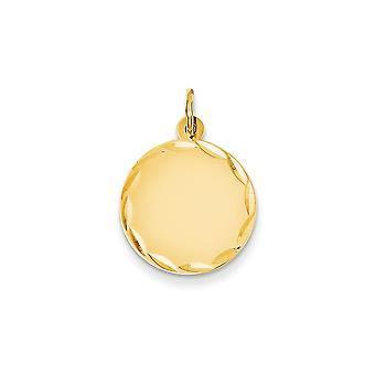 14k amarillo oro sólido faceteado pulido grabado grabado calibre.011 Engraveable redondo disco encanto