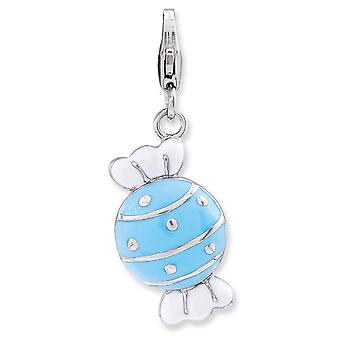 925 Sterling Silver Rhodium plated Fancy Lobster Closure Enameled Piece Of Candy In Wrapper With Lobster Clasp Charm Pen