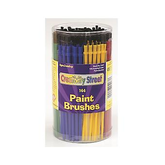 144 Economy Plastic Handled Kids Paint Brushes for Arts & Crafts