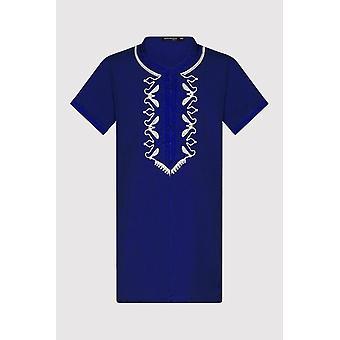 Gandoura Hamza Boy ' s Hooded collarless geborduurd gewaad Thobe in Royal Blue (2-12 jaar)