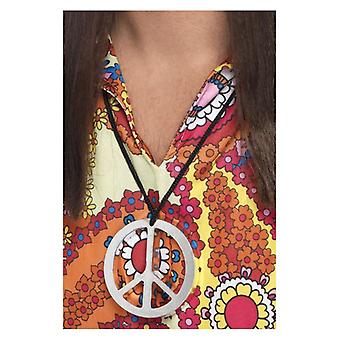 Mens Peace Sign Medallion Fancy Dress Accessory
